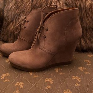 Taupe, suede tie up booties